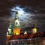 Full moon over Wawel Castle in Krakow, Poland Stock Photo