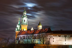 Full moon over Wawel Castle in the night in Krakow Stock Photography