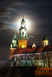 Full moon over Wawel Castle in the night in Krakow Stock Photos
