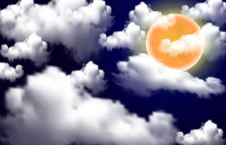 Full moon over white clouds Royalty Free Stock Photo