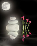 Full Moon Over Zen Garden. Zen abstract of glowing grey spa stones in perfect balance with red iris flowers and a full moon with reflection over rippled water Stock Photography