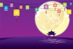 Full moon and paper lanterns Stock Photos