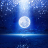 Full moon party. Background, night sky with full moon and reflection in sea, falling stars, glowing horizon. Elements of this image furnished by NASA stock image
