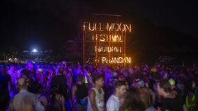 Full Moon Party fire sign on Haad Rin beach in island Koh Phangan, Thailand. KOH PHANGAN, THAILAND - MARCH 02, 2018 : Full Moon Party fire sign on Haad Rin beach stock images