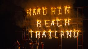 Full Moon Party fire sign on Haad Rin beach in island Koh Phangan, Thailand Stock Photos