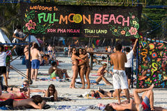 Full moon party in Koh Phangan , Thailand . Royalty Free Stock Photo