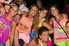 Full moon party in Koh Phangan , Thailand . PHANGAN - JANUARY 26 : There are about 10,000 people every month at this Phangan beach Full moon party, on January royalty free stock image