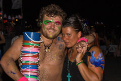 Full moon party in Koh Phangan , Thailand . Stock Photos