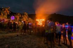 Full moon party at Koh Phangan. Koh Phangan, Thailand - October 8, 2014: The Full moon party at Haad Rin, Koh Phangan, Thailand. The Full Moon Party is an all royalty free stock images
