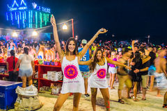 Full moon party at Koh Phangan. Koh Phangan, Thailand - October 8, 2014: The Full moon party at Haad Rin, Koh Phangan, Thailand. The Full Moon Party is an all royalty free stock photos