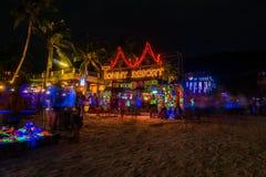 Full moon party at Koh Phangan. Koh Phangan, Thailand - October 8, 2014: The Full moon party at Haad Rin, Koh Phangan, Thailand. The Full Moon Party is an all stock photography