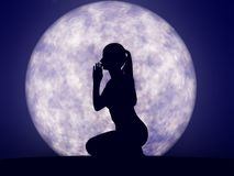 Full moon prayer Stock Photography