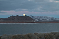 Full Moon, Pyramid Lake, Nevada Royalty Free Stock Photography
