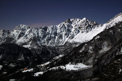 Full moon on Recoaro Mountains Stock Images