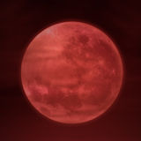 Full moon on red background Stock Photo