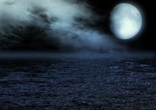 Full moon reflected in water. The full moon in the night sky reflected in water Royalty Free Stock Photo