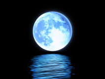 Full moon reflected in the water. Stock Photo