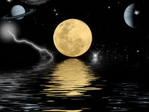 Full moon reflecting in the ocean Stock Photography