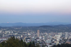 Full Moon Rise Over Portland Cityscape Stock Photos