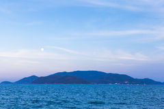 Full moon rises over Nha Trang beach Stock Photo