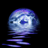 Full moon rising. Large moon reflecting over smooth waves on water  on black outer space nice web background Royalty Free Stock Image