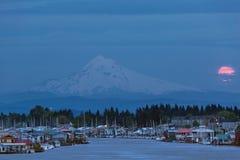 Full Moon Rising at Hayden Island in Portland Oregon Royalty Free Stock Image