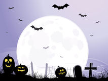 Full Moon Rising Over Cemetery. Full moon rising over silhouetted cemetery design. Bats flying over and Jack o'Lanterns on ground. Highly detailed Stock Photo