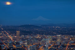 Full Moon Rising Over Portland Cityscape Royalty Free Stock Photography