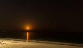 Full moon rising. Full moon over the sea - Fujairah, UAE Royalty Free Stock Images