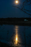 Full Moon River. The moon reflects beautifully on the river surface stock photo