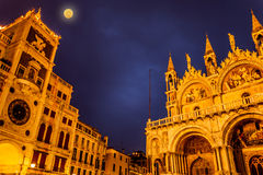 Full Moon In San Marco Square, Venice Italy Royalty Free Stock Photo
