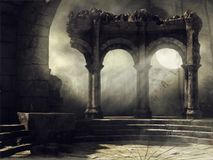 Full moon scene with old ruins. Fantasy full moon scene with old abandoned ruins Royalty Free Stock Images