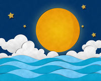 Full Moon at Sea Stock Photography