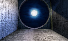 Full moon seen through a round window Royalty Free Stock Photo