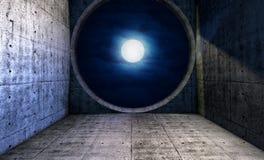 Full moon seen through a round window Royalty Free Stock Photo