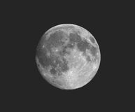 Full moon seen with telescope, faded vintage look. Full moon seen with an astronomical telescope, in black and white, vintage faded look Royalty Free Stock Image