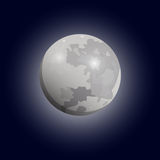 Full moon seen with a telescope. Luna flat icon. Vector. Eps10 stock illustration