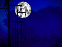 Full moon shadow of electric power line and storm cloud. Full moon shadow of electric power lines and storm cloud Royalty Free Stock Photos