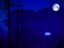 Full moon shadow of electric power line and storm cloud. Full moon shadows of electric power line and storm cloud Stock Photos