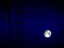 Full moon shadow of electric power line and storm cloud. Super full moon shadow of electric power line and storm cloud Royalty Free Stock Photos