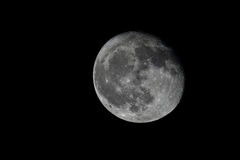 Full moon with sharp details. The full moon in the night black sky Stock Photos