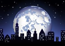 The full moon shines on the night city. The full moon shines on the panorama of the night city stock illustration