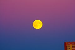 Full moon. In the sky color Stock Photo