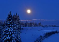 Full moon with snow Stock Photos