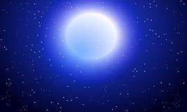 Full moon on a snowfall background. Vector art illustration Royalty Free Stock Photo