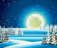 Full moon and snowy forest at night. Stock Photography