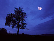 Full moon somewhere in Central Bohemia. Double-exposure Stock Images
