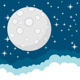 Full Moon in the Starry Cosmic Dark Blue Sky with Stock Images