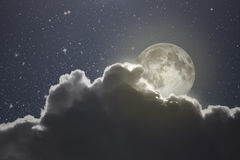 Full moon on a starry night Stock Image