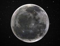 Full moon in starry night sky. Surface of full moon in starry night sky Royalty Free Stock Image